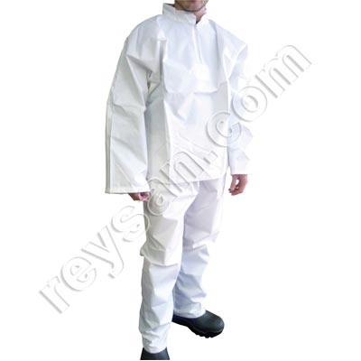 WHITE NEOPRENE COVERALL F/S