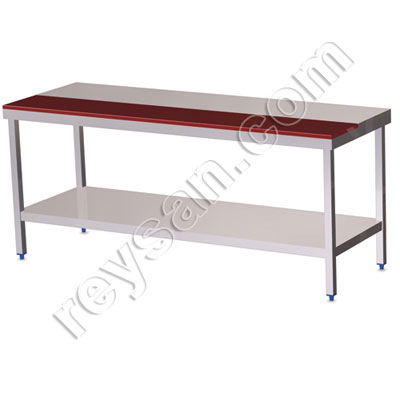 POLYETHYLENE TABLE-INOX RED