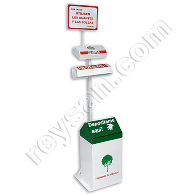 GLOVES AND PLASTIC BAGS DISPENSER WITH WASTEBIN