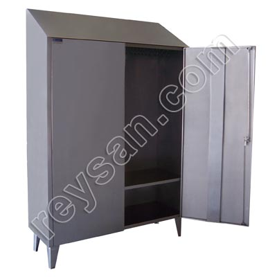 STAINLESS STEEL CUPBOARD WITH HOOK BAR