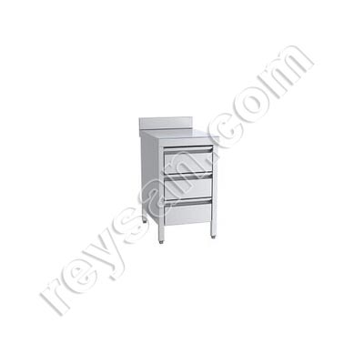 STAINLESS STEEL WORKING WALL TABLE WITH DRAWERS