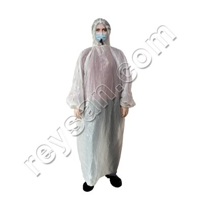 LDPE WATERPROOF DISPOSABLE PONCHO WITH SLEEVES