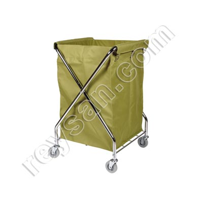 STAINLESS STEEL KHAKI LAUNDRY TROLLEY
