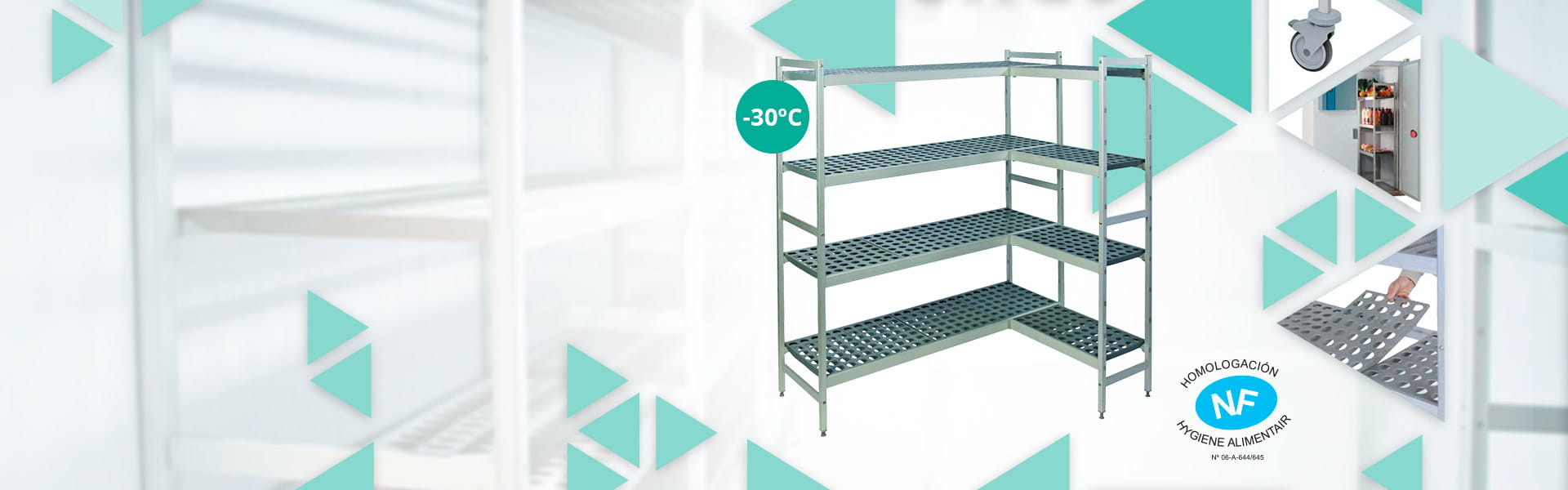 Shelves with removable polyethylene shelves